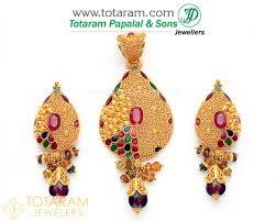 22k gold pendant earring set with ruby garnet beads