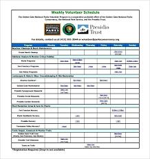 weekly schedule example national parks weekly volunteer schedule template example