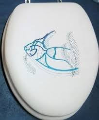 elongated padded toilet seat with metal hinges. cloud soft blue angel fish embroidery padded toilet seat standard or elongated with metal hinges