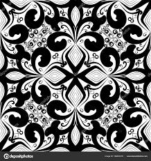 Black And White Vintage Design Floral Black White Vintage Seamless Pattern Vector
