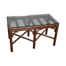 round glass large glass bamboo glass coffee table with vintage brass
