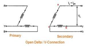 open delta or v connection of transformer etrical broken delta transformer at Open Delta Transformer Connection Diagram