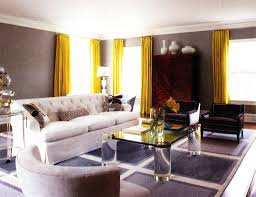 Yellow Living Room Decor Living Room White Table Lamps Gray Sofa Black Coffee Table Gray