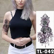 эскиз цветок роза бабочка водонепроницаемая временная татуировка