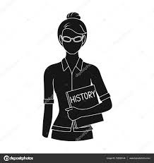 Symbol For Teacher Teacher Professions Single Icon In Black Style Vector Symbol Stock