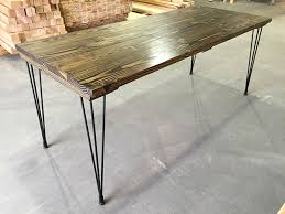 6 hairpin table table top stained dark walnut base black hairpin legs