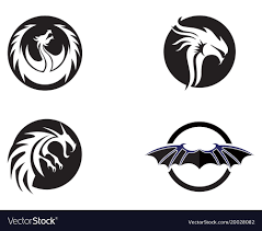 template of a dragon head dragon flat color logo template royalty free vector