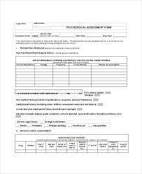 Psychosocial Assessment Template Classy Psychosocial Assessment Form Hasnydesus