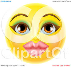 clipart of a 3d pretty female yellow smiley emoji emoticon face with makeup royalty free vector ilration by atstockilration