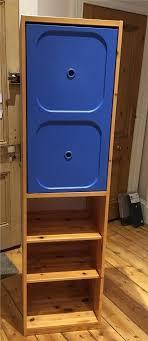 ikea trofast kids pine wardrobe with blue door