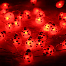 Ladybug Garden Lights Us 12 73 30 Off Battery Powered 3m 10ft 40led Ladybug Shaped String Lights Decorative Halloween Holiday Indoor Outdoor Fairy Lights With Remote In