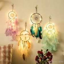 2018 20 lamp dream catcher net led stars string lights diy wind chimes natural feathers wall hanging decor dreamcatcher lamp string from ok360