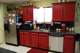 White And Red Kitchen Red Kitchen Cabinets Black Countertops Design Porter