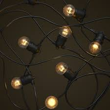 standard black party festoon lighting with small clear led light globes