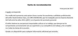 ejemplo de una carta de recomendacion personal