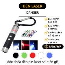 Móc khóa đèn pin 3 in 1 Led có thể soi tiền giả tia tím, chiếu laser tia đỏ  và chiếu sáng màu trắng 2701 - Móc Khoá