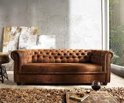 Sofa Chesterfield 200x90 Braun Antik Optik 3 Sitzer