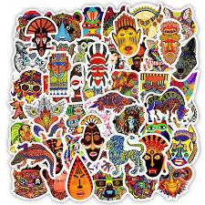 <b>50 PCS</b> Waterproof Ethnic <b>Animals</b> Stickers Toys for Kids Doodle ...