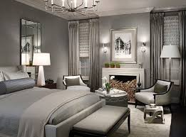 Gorgeous monochromatic living room design with grey wall paint colour,  ivory Mitchell Gold Bob Williams