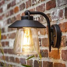cate exterior wall lantern in brown black