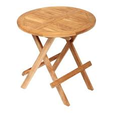 teak round outdoor folding side table