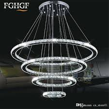 wire chandelier 4 rings diamond crystal ring led lamp modern light fixture circle hanging home lighting en shades