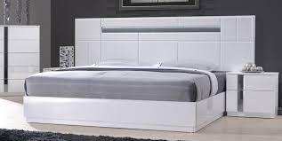 MONTE CARLO - KING SIZE WHITE LACQUER CHROME 5PC BEDROOM SET W LIGHT ...