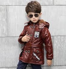 pu leather motorcycle jacket kids boys cool winter