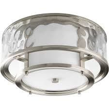 progress lighting bay court 15 in w brushed nickel outdoor flush mount light