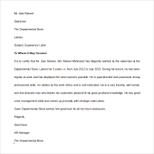 10 Sample Experience Letters Pdf Doc Sample Templates
