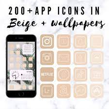 200 beige app icons for IOS 14 Update ...