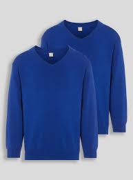 Buy <b>Blue V</b>-<b>Neck</b> Jumpers 2 Pack - 5 years | Boys school uniforms ...