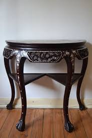 half moon table. A Half Moon Table In Rosewood Inlaid Mother Pearl And Marble Top - China J