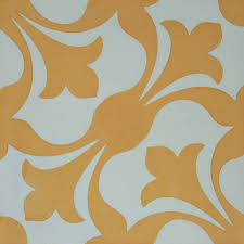 encaustic cement tile yellow patchwork