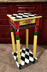 whimsical painted furnitureSide Table  Hand Painted Bedside Tables Hand Painted Round Side