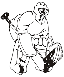 Small Picture Hockey Coloring Page Goalie With Giant Stick