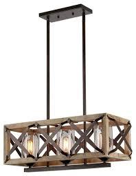 3 lights rectangle wood metal pendant lamp bubble glass shade black industrial kitchen island lighting by lightingworld