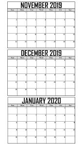 Free November 2019 To January 2020 Calendar Template Net