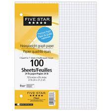 Five Star Heavyweight Graph Paper 100 Sheets Loose Sheet Paper