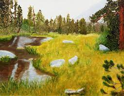 Meadow Pond Painting by Sylvia Riggs