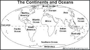 Blank World Map With Oceans And Continents