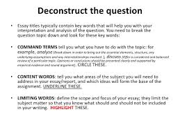 deconstructing an essay 3 deconstruct the questionbull essay titles