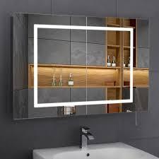 led illuminated bathroom cabinet mirror shaver 2 sliding doors slim line backlit