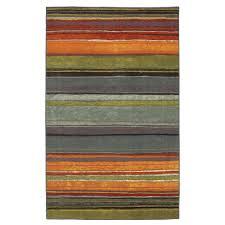 ' x ' rainbow stripes area rug with orange blue green red purple