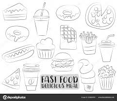 Fastfood Cartoon Pictogrammen Objecten Instellen Zwart Wit Pagina