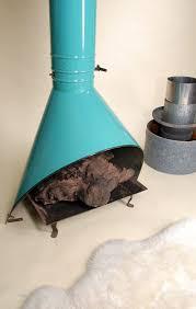 mid century aqua enamel freestanding fireplace by motleyla on