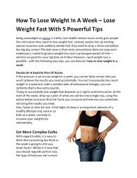 how to lose weight in a week lose
