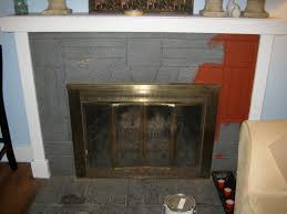 nice grey brick painted fireplace refinished with red as well as white floating mantel in country interior ideas