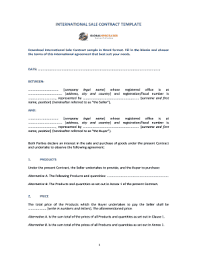 A sales contract is a legal agreement between two parties namely; International Sales Contract Template Word Fill Online Printable Fillable Blank Pdffiller