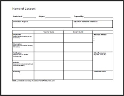 Template For Lesson Plan Daily Template 1 Lessons Worksheets And Activities